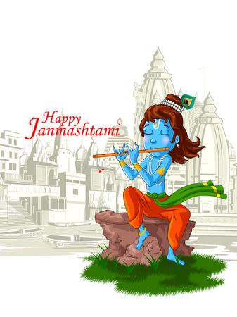 Señor Krishna indio Dios Janmashtami festival de vacaciones.