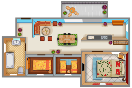 Top View Of Floor Plan Interior Design Layout For House With ...