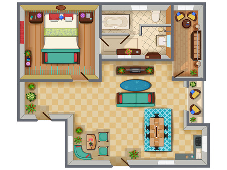 Top View Of Floor Plan Interior Design Layout For House With.. Royalty Free  Cliparts, Vectors, And Stock Illustration. Image 85277451.