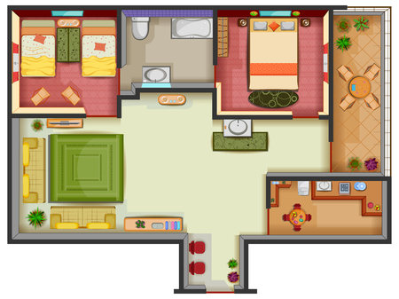 Top view of Floor plan interior design layout for house with furniture and fixture. Illustration