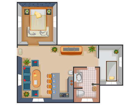Top View Of Floor Plan Interior Design Layout For House With Furniture And  Fixture. Stock