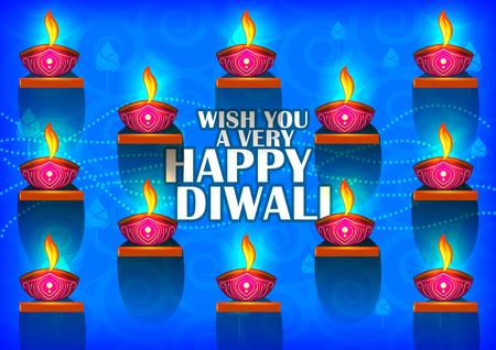 Decorated Diya on Happy Diwali night celebrating holiday of India Illustration