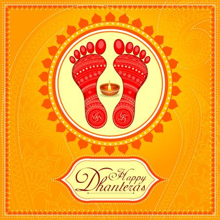 Huella de lakshmi de diosa para la celebración de vacaciones de festival feliz de Diwali de fondo de saludo de la India Foto de archivo - 87567785