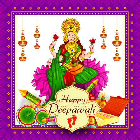 A vector illustration of Goddess lakshmi sitting on lotus for Happy Diwali festival holiday celebration of India greeting background Illustration