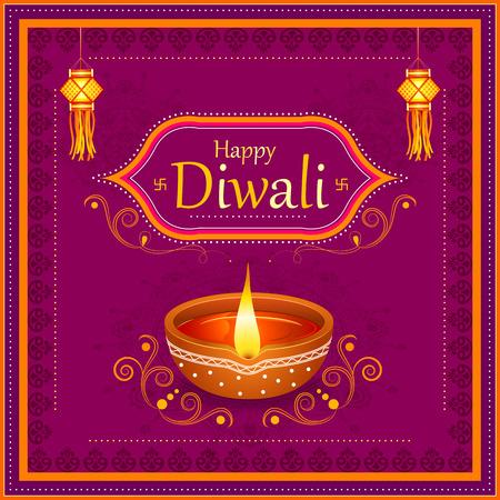 A vector illustration of Decorated Diya for Happy Diwali festival holiday celebration of India greeting background Illustration