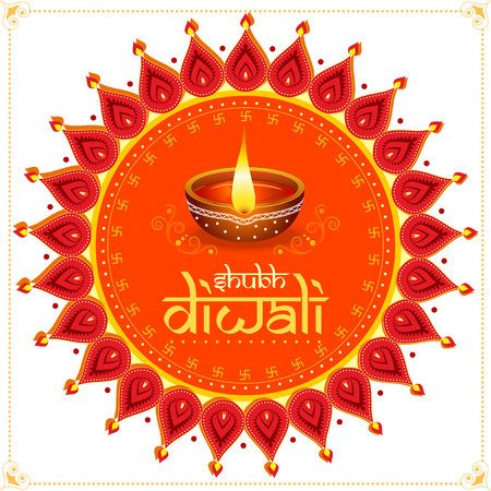 vector illustration of Decorated Diya for Happy Diwali festival holiday celebration of India greeting background