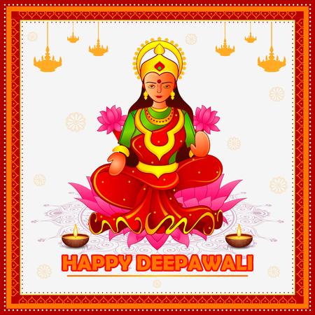 vector illustration of Goddess lakshmi sitting on lotus for Happy Diwali festival holiday celebration of India greeting background Illustration