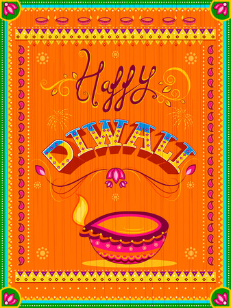 Happy Diwali card for festival of light of India Stock Vector - 87567789