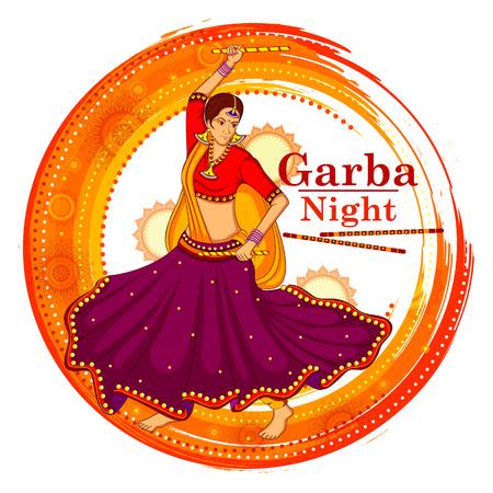 Dandiya 夜のポスター ・ バナー デザインに Garba ダンス  イラスト・ベクター素材