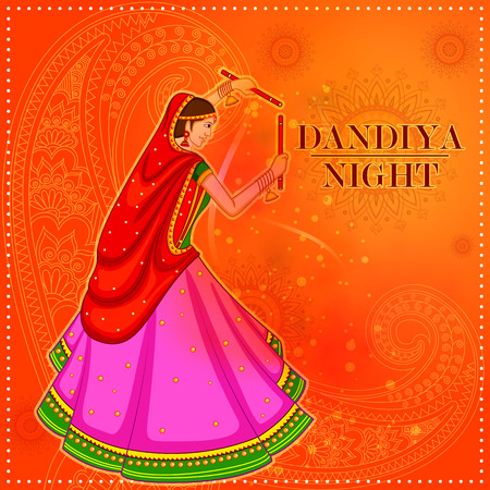 Garba dance on poster banner design for Dandiya Night