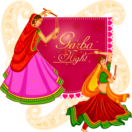 Garba dance on poster banner design for Dandiya Night