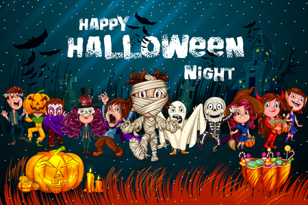 Happy Halloween hanunted background with kids in scary costume