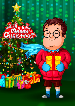 Kid with gift in Christmas holiday background