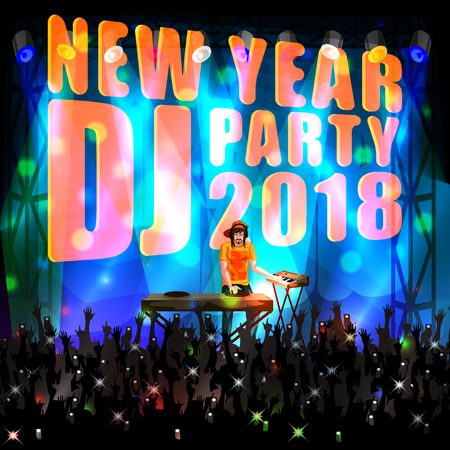 Happy New Year DJ disco party celebration banner, invitation template background