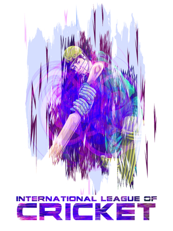 Concept of sportsman playing Cricket match sport Иллюстрация
