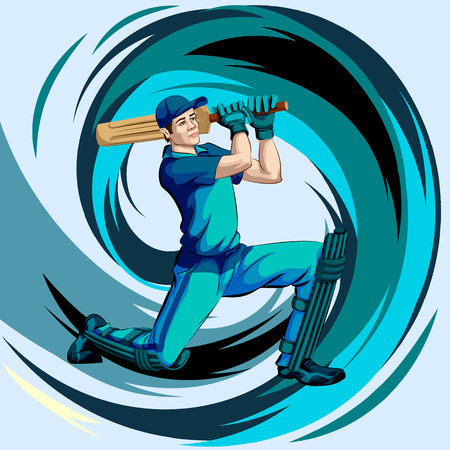 Concept of sportsman playing Cricket match sport Çizim