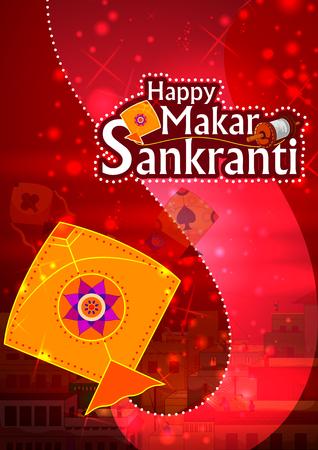 Happy Makar Sankranti religious festival of India celebration background Stock Vector - 92412039