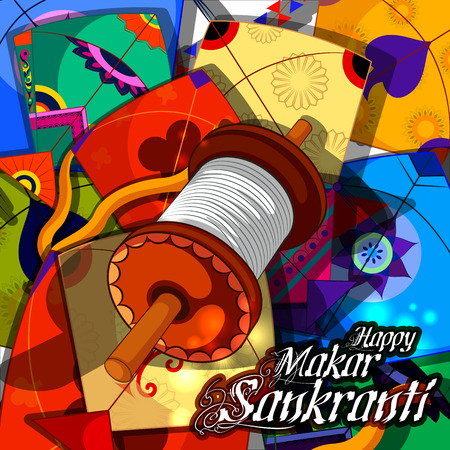 Happy Makar Sankranti religious festival of India celebration background