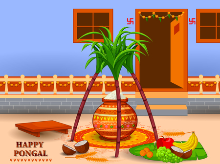 Happy Pongal religious festival of South India celebration illustration. Illustration