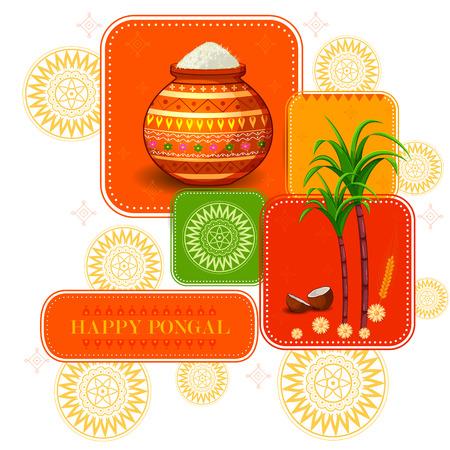 Happy Pongal religious festival of South India celebration illustration. Illustration