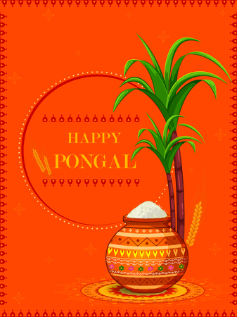 Happy Pongal religious festival of South India celebration background.