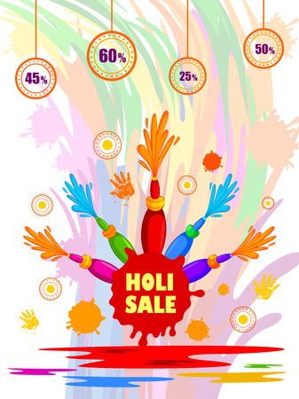 Happy Holi festival of colors Deal and Offer background for holiday of India Illustration