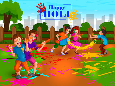 Happy Holi festival of colors background for holiday of India Stock Illustratie