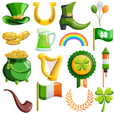 Saint Patrick Day wishings and greetings object for designing . Vector illustration Çizim