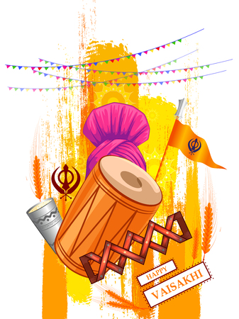 Happy Vaisakhi New Year festival of Punjab India banner Vector illustration.