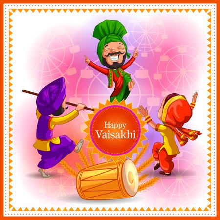 Happy Vaisakhi New Year festival of Punjab India banner Vector illustration.