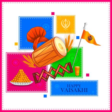 Happy Vaisakhi New Year festival of Punjab India.