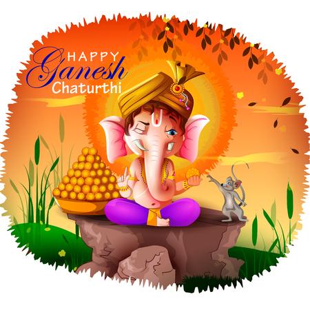 Happy Ganesh Chaturthi festival of India background with Lord Ganpati Vector Illustration