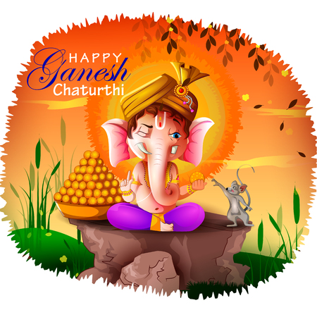 Happy Ganesh Chaturthi festival of India background with Lord Ganpati Illustration