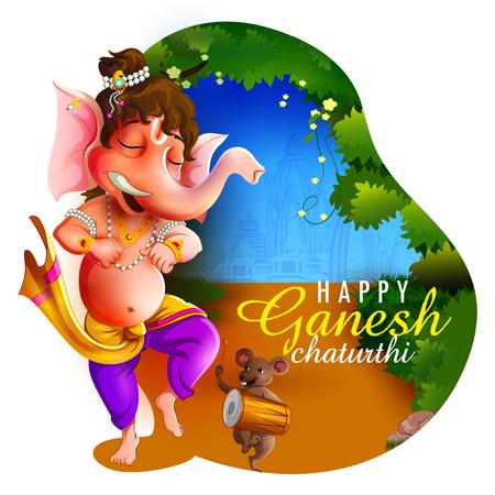 Happy Ganesh Chaturthi festival of India background with Lord Ganpati