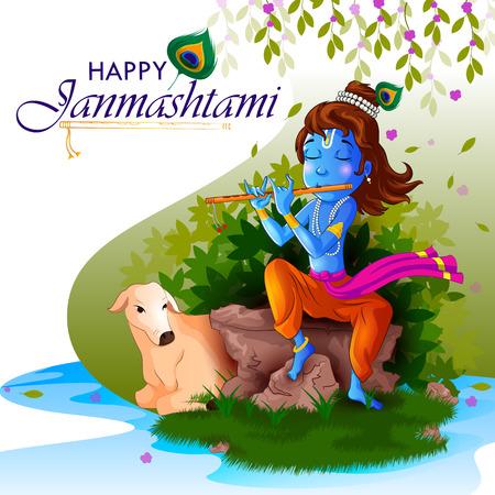 Lord Krishna Indian God Janmashtami festival holiday Vector Illustration