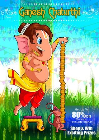 Happy Ganesh Chaturthi festival of India background with Lord Ganpati for sale promotion advertisement