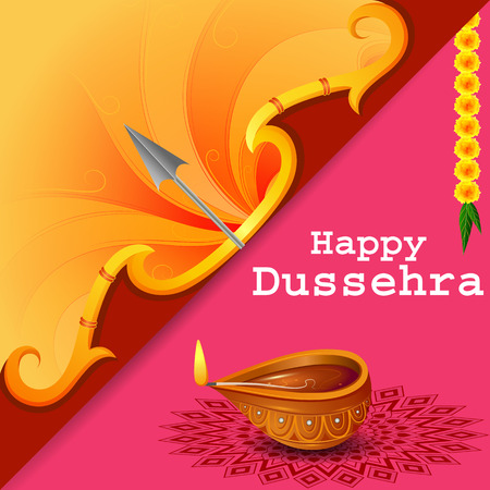 Bow and Arrow of Lord Rama for Happy Dussehra festival of India