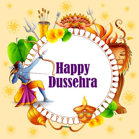 Lord Rama killing Ravana in Happy Dussehra festival of India Vector Illustration