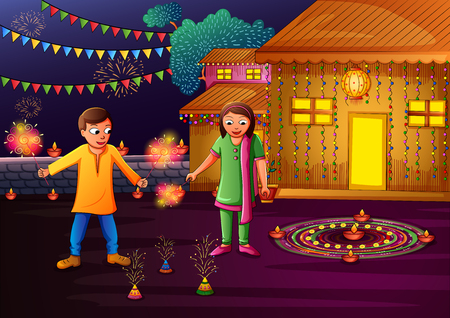 Indian kids celebrating Happy Diwali on colorful art style background of India