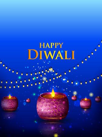 Decorated Diya on Happy Diwali night celebrating holiday of India