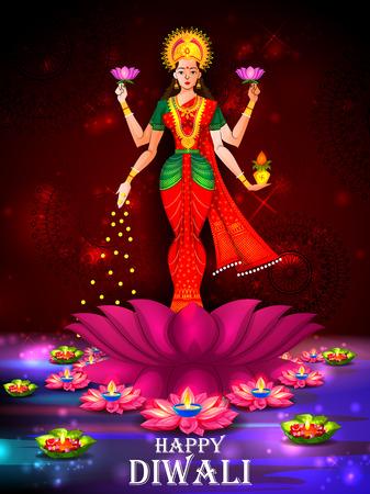 Indian Goddess Lakshmi on Lotus on Happy Diwali night celebrating holiday of India