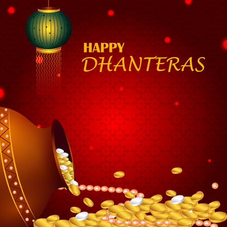 Inidan holiday of Happy Dhanteras during Diwali season for prosperity