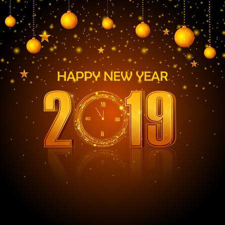 Fondo de saludo de temporadas y feliz año nuevo 2019 Ilustración de vector