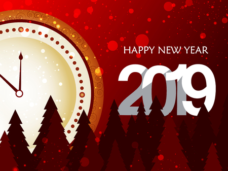 Seasons Greeting and Happy New Year 2019 background. Vector illustration