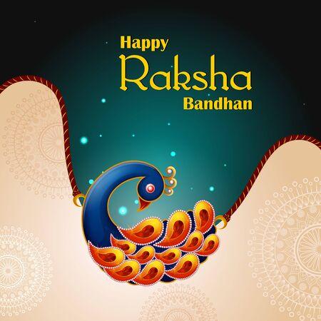 Happy Raksha Bandhan Indian festival celebration greeting background with ornamental Rakhi. Vector illustration Vector Illustration