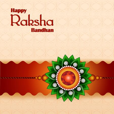 Happy Raksha Bandhan Indian festival celebration greeting background with ornamental Rakhi. Vector illustration