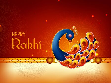 Happy Raksha Bandhan Indian festival celebration greeting background with ornamental Rakhi. Vector illustration