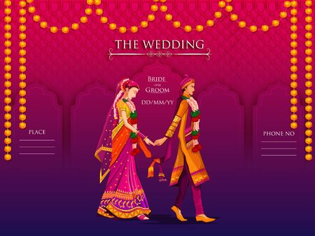 Los novios indios en traje étnico Lengha y Serwani para el día de la boda. Ilustración vectorial