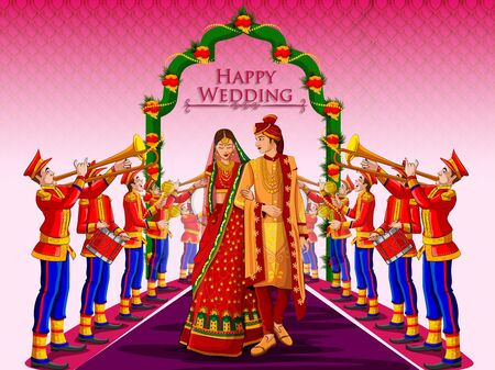 Indian Bride and Groom in ethnic dress Lengha and Serwani for wedding Day with Marching Music Brass Band. Vector illustration 免版税图像 - 128636472