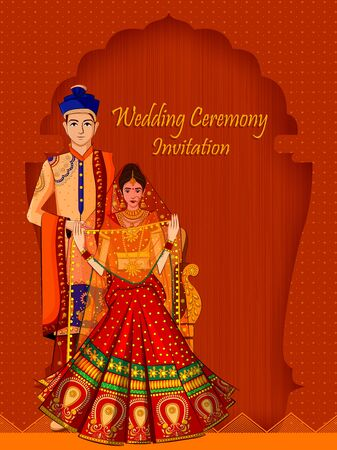 Indian Bride and Groom in ethnic dress Lengha and Serwani for wedding Day. Vector illustration Stockfoto - 128636547